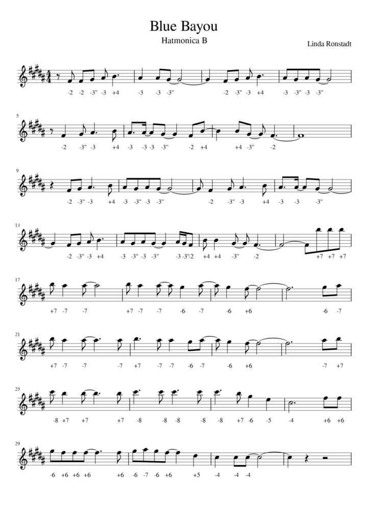FREE TAB - Linda Ronstadt - Blue Bayou - Harmonica B - FREE TAB
