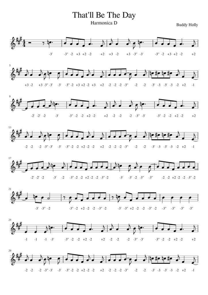 FREE TABS - That'll Be The Day - Buddy Holly - Harmonica D et/ou Harmonica chromatique - FREE TABS