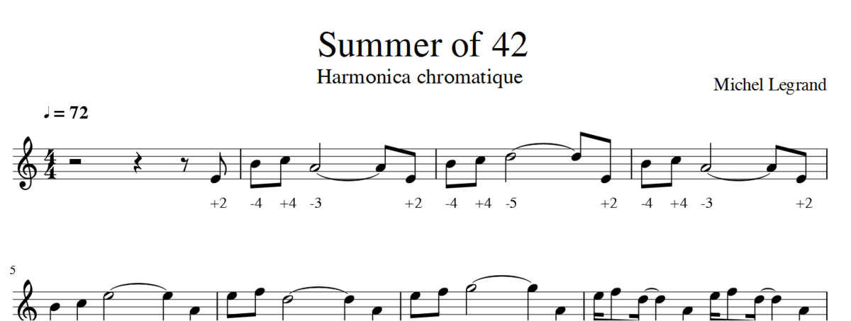 Summer of 42 - Michel Legrand - Harmonica chromatique