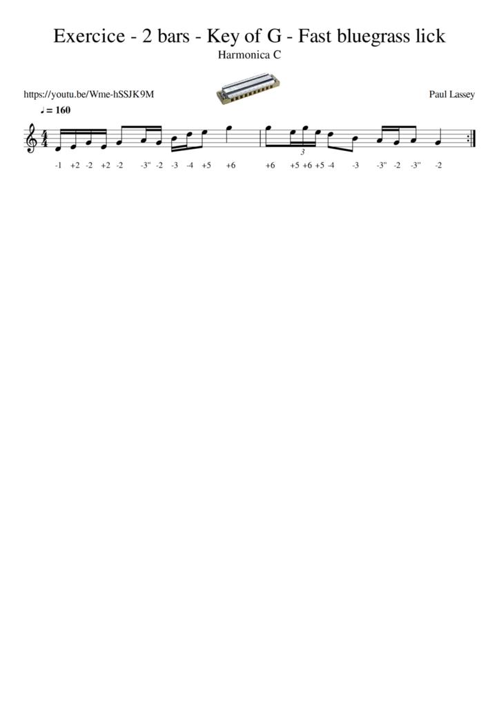 Exercice - 2 bars - Key of G - Fast bluegrass lick - Harmonica C