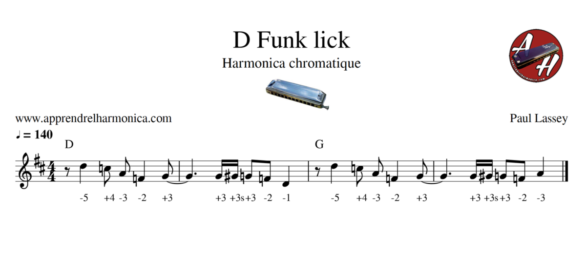 D Funk lick - Harmonica chromatique