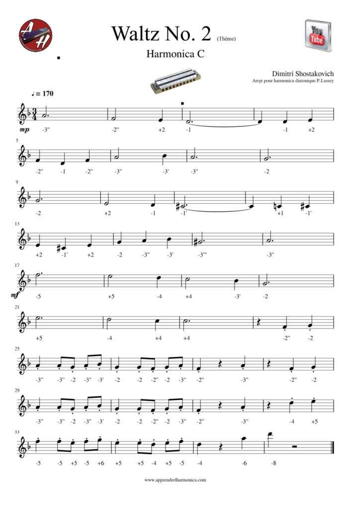 Valse N°2 D.Shostakovich - Arrgt pour harmonica diatonique C