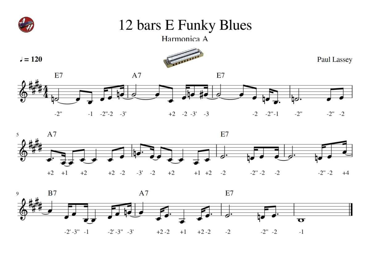 12 bars E Funky Blues - Harmonica A