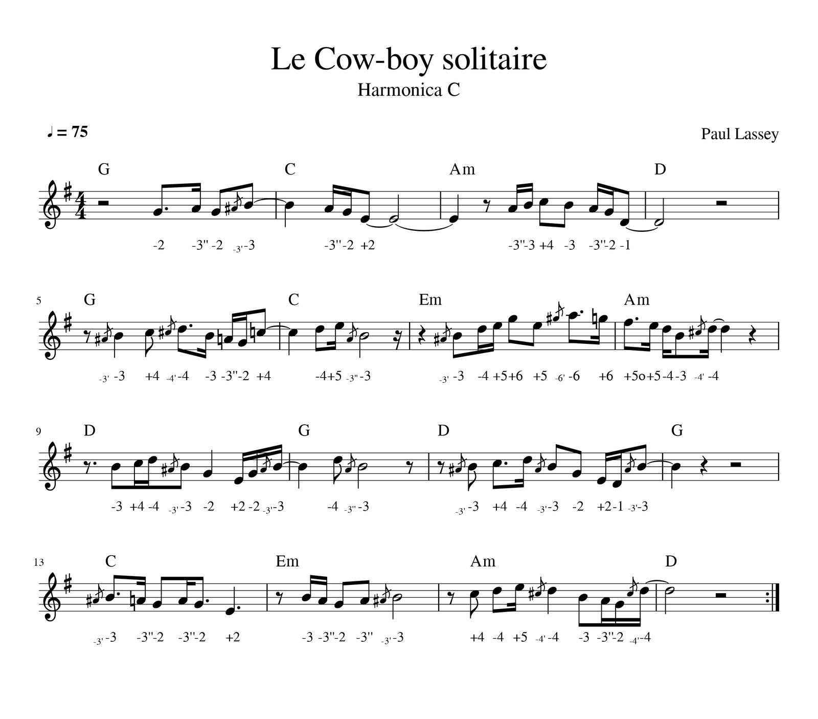 Exercice : Le cowboy solitaire - Harmonica C
