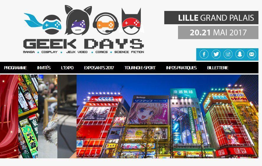 Innovation high-tech : GEEK DAYS à Lille, Samedi 20 et Dimanche 21 Mai 2017