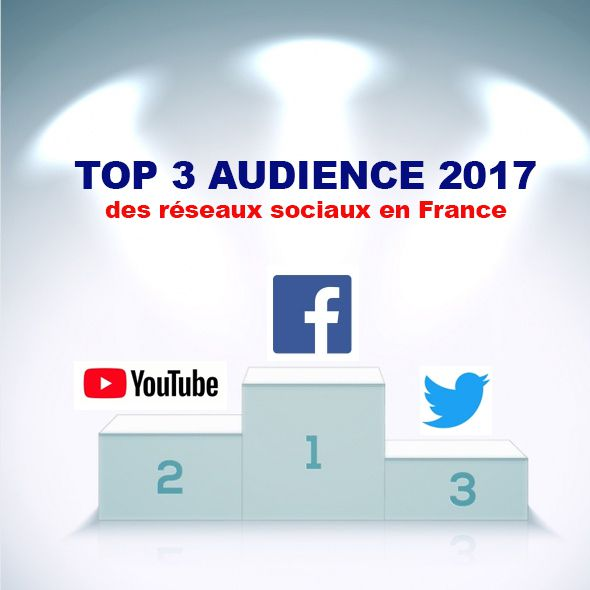 Social marketing : TOP 3 audience des médias sociaux en 2017 en France