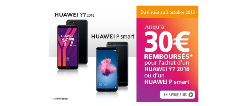 Mobile : HUAWEI dégaine l'offre de remboursement pour booster les ventes Y7 2018 OU P SMART