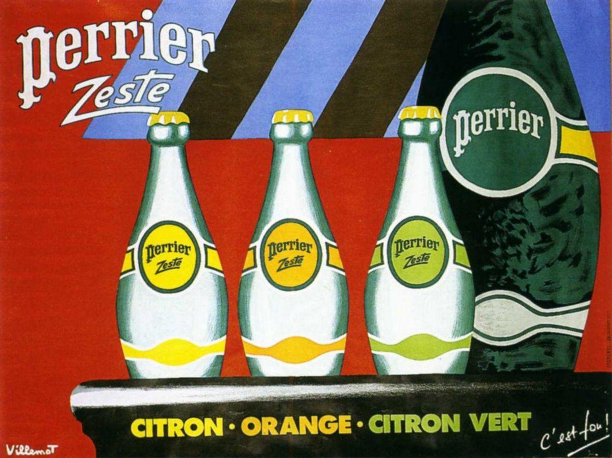 Pub d'autrefois : 1987, Bernard Villemot pour Perrier