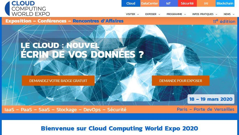 Event: Cloud Computing World Expo 2020 à Paris