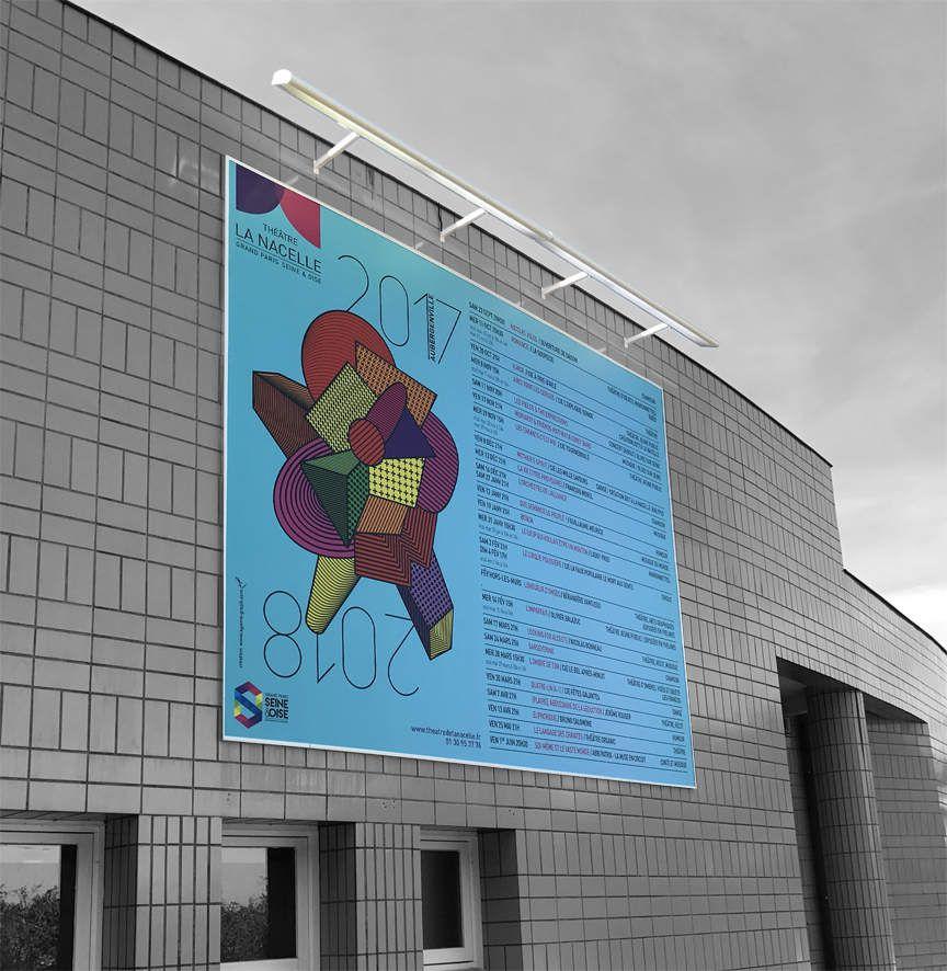 centre culturel theatre annonce publicitaire, panneau 4x3 rampe d'eclairage et projecteur