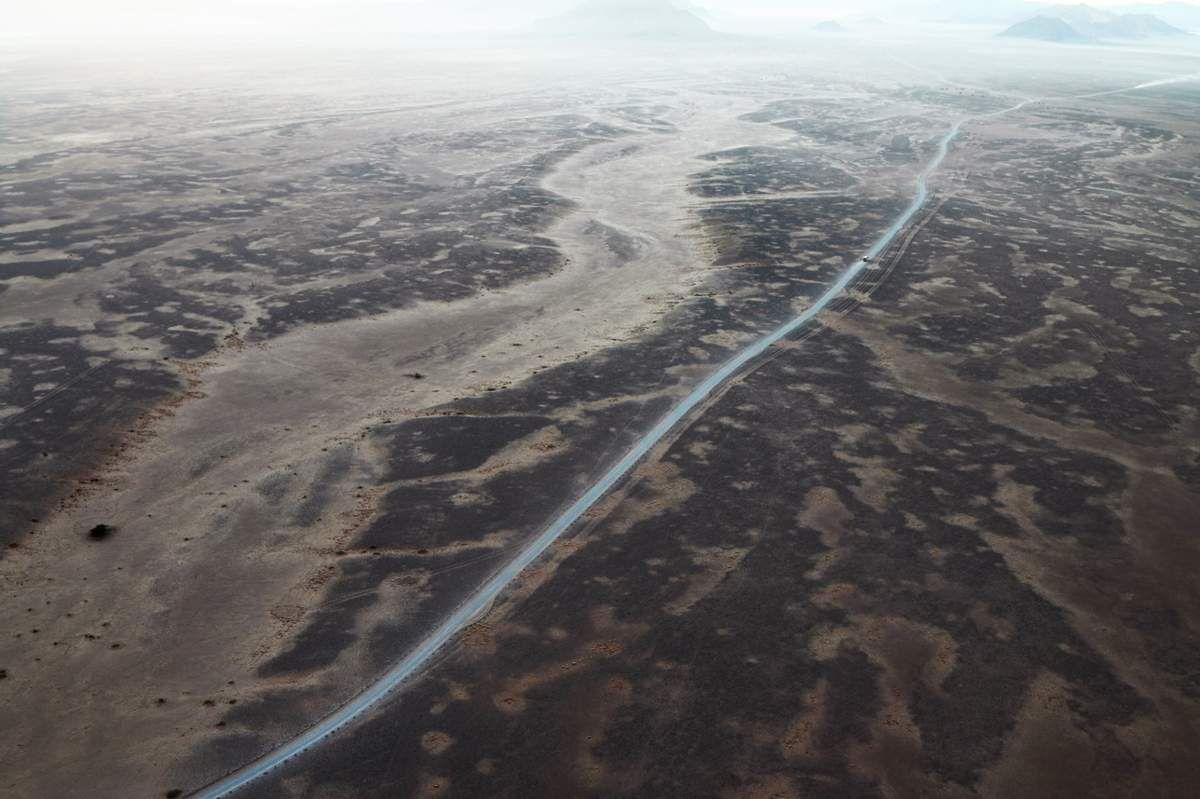 montgolfière dans désert de Namib - Namibie