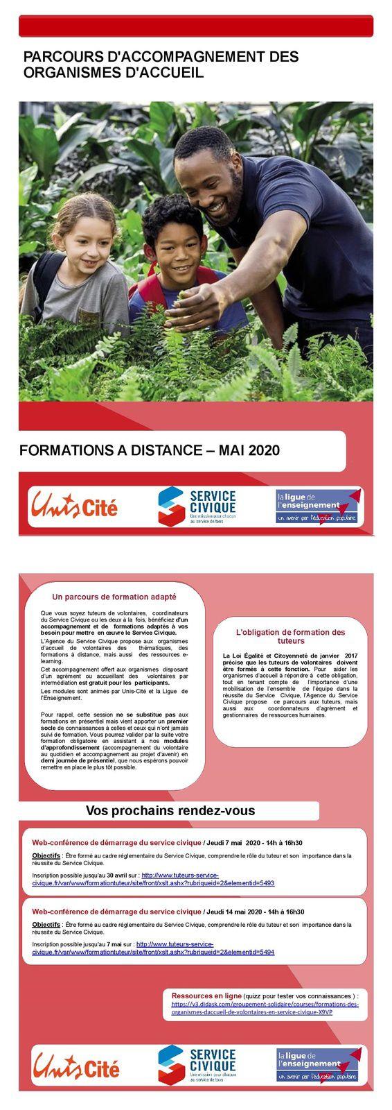 Formations Tuteur-rice de volontaires en service civique : Mise en place d'un module d'accompagnement à distance