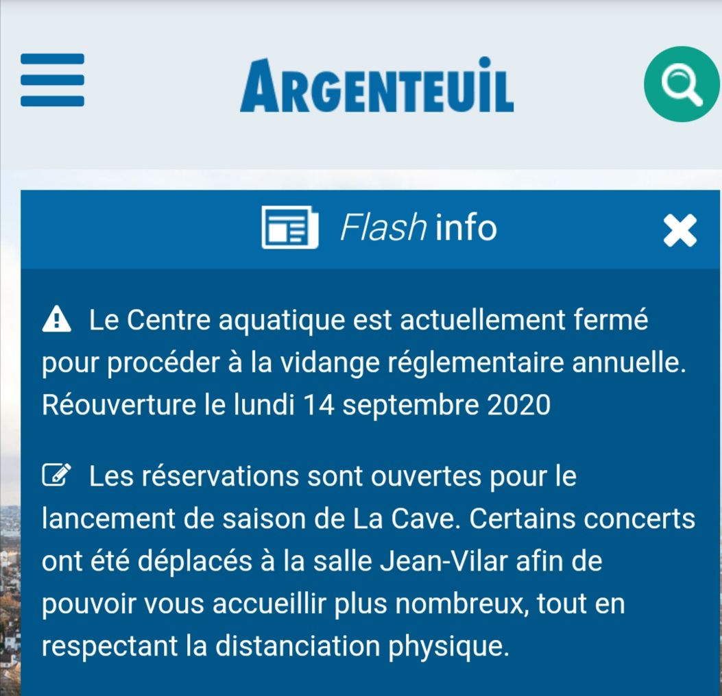 Flash info mairie réouverture piscine le 14 septembre et inscriptions à La Cave