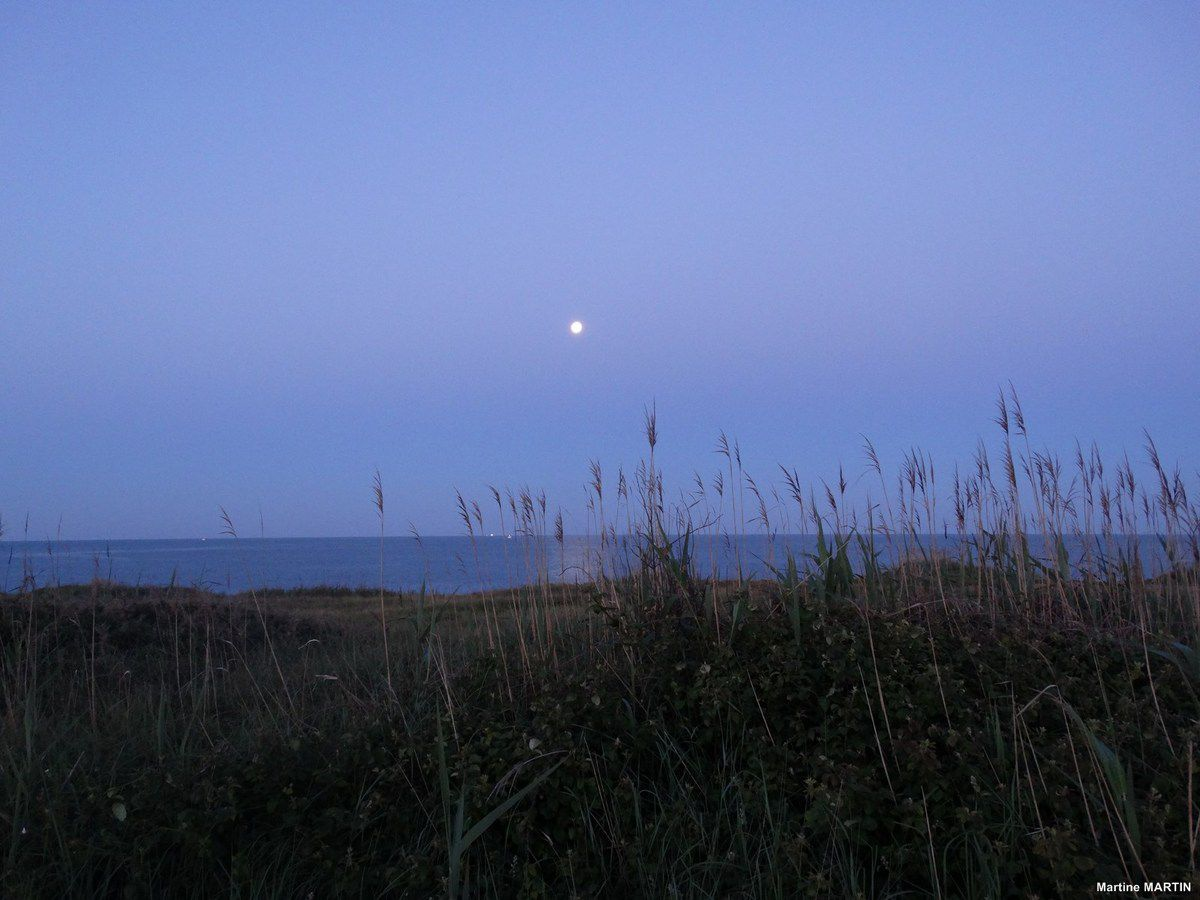 Coucher de pleine lune au Château d'Olonne