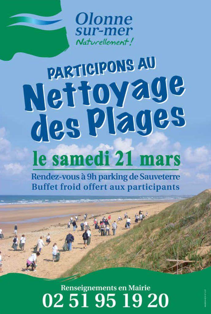 Nettoyage des plages d'Olonne sur mer