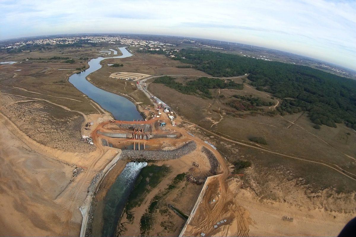 Photos aériennes du barrage de l'écluse de la gachère à Bretignolles sur mer