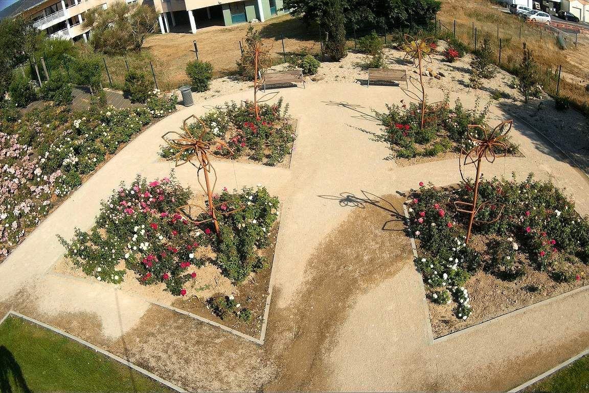 La roseraie du parc des Roses en juillet