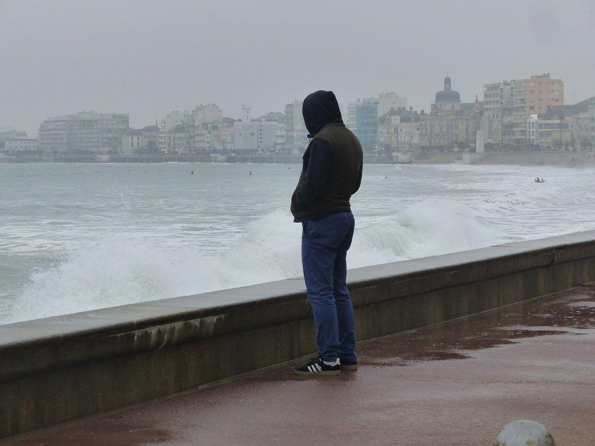 Grande marée de Février 2019 sur le remblai des Sables d'Olonne