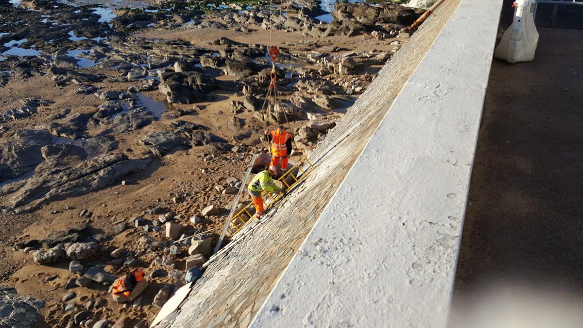 Travaux sur le mur de remblai du Tanchet