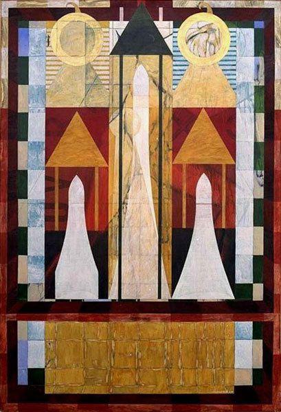 Double jeu de Dames - Acrylique sur toile 130 x 89 cm - n°1133 - 06/1998