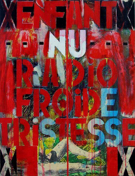 Enfant nu, radio froide, tristesse - Acrylique et collages sur papier 65 x 50 cm - n°0531 - 04/1990