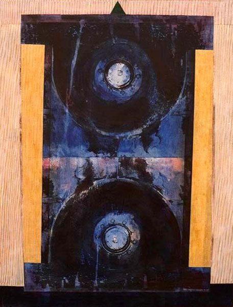 Enclume à marteler les épingles, acrylique sur toile 65 x 50 cm, n°1071, 10/1997