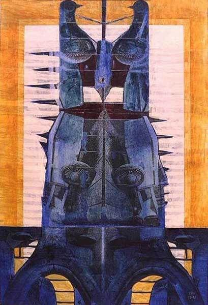 Veeska n°1174 - Quatre chariots en bois - Acrylique et transferts sur papier 35 x 50 cm - 10/1998