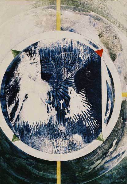 Veeska n°1368 - Boussole d'appartement - Acrylique sur papier 50 x 65 cm - 06 à 08/2002 - Coll. Danielle Reissner