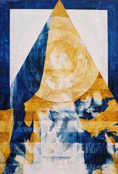 Veeska n°1383b - Gong du silence - Acrylique sur toile 89 x 130 cm - 09 à 10/2002 - Coll. Danielle Reissner