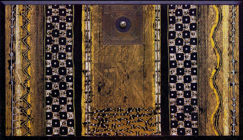 Alain Plouvier, Petite planète dorée, 83 x 145 cm 2005, techniques mixtes