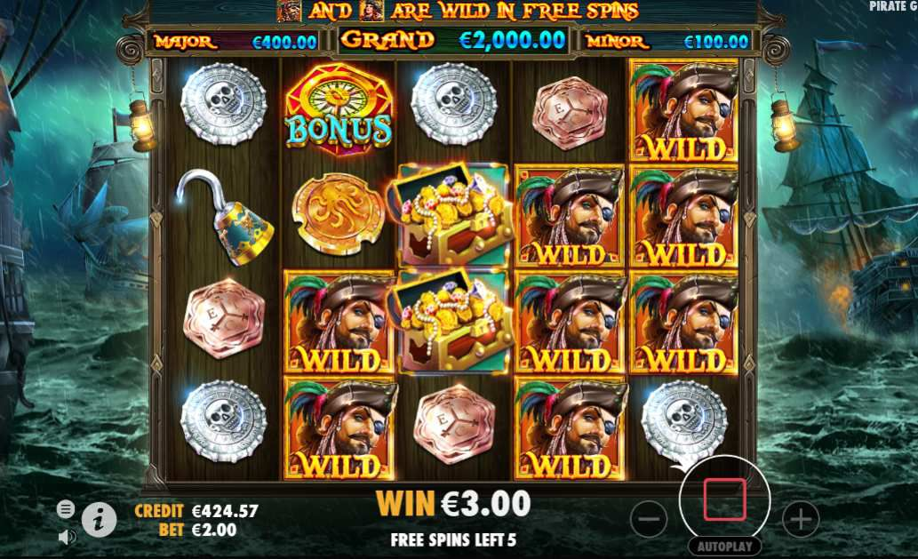 machine à sous Pirate Gold jeu bonus tours gratuits et wilds