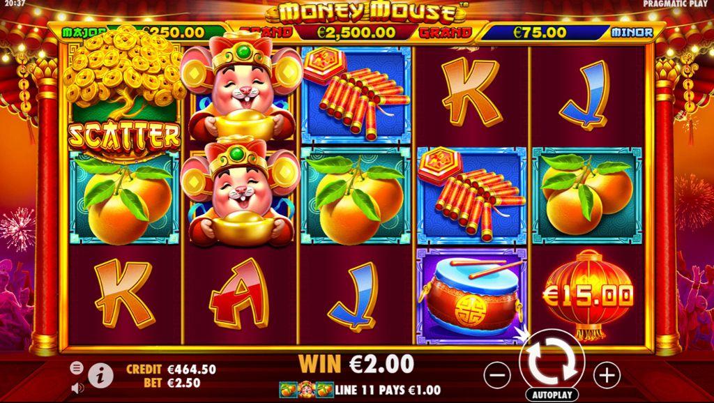 machine à sous mobile Money Mouse grille de jeu