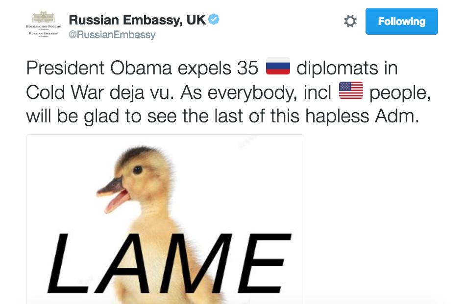 Il en va naturellement de même lorsque les provocations publiées sur les réseaux sociaux sont parfaitement assumées, comme en atteste l'exemple de l'ambassade russe au Royaume-Uni, désormais réputée pour son art du trolling diplomatique.