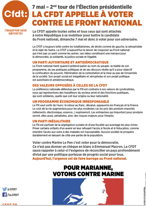 7 mai - 2nd tour de l'Election présidentielle : LA CFDT APPELLE À VOTER CONTRE LE FRONT NATIONAL