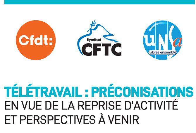 Télétravail : les préconisations de la CFDT, la CFTC et l'UNSA