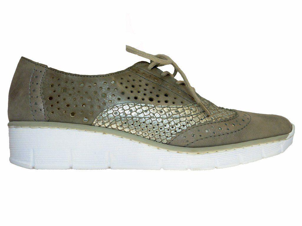 RIEKER 53726-90 Beige blanc. Chaussures confort. Paris.