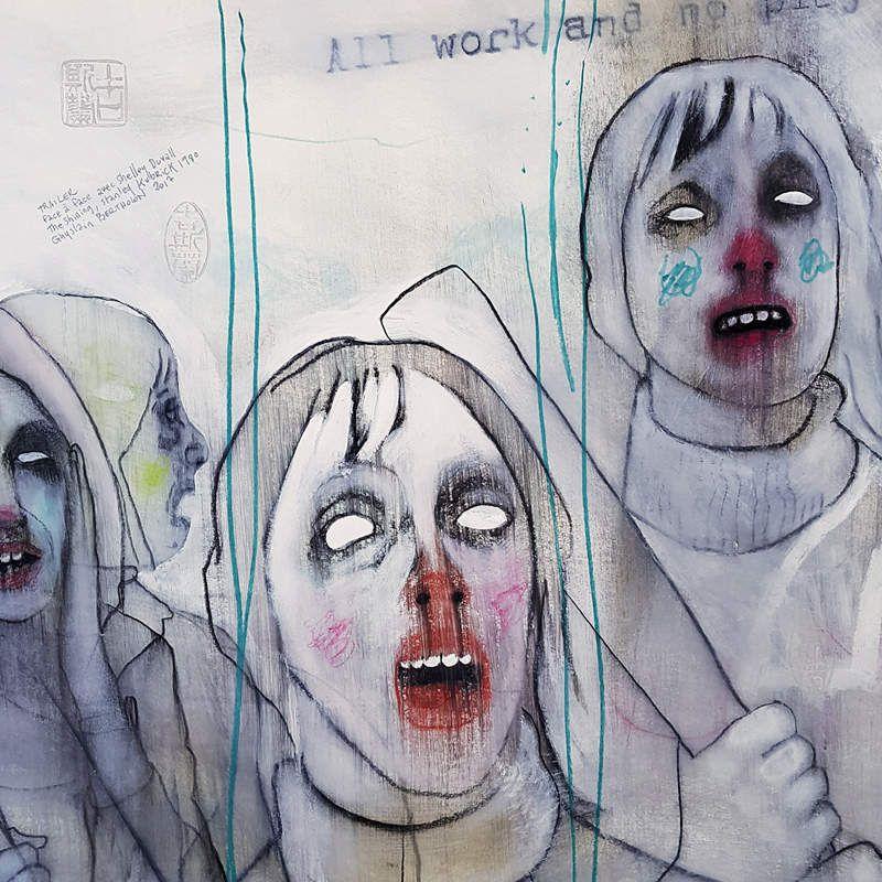 Face à Face avec Shelley Duvall, ghyslain bertholon 2017, caie et crayon sur papier 40X40cm