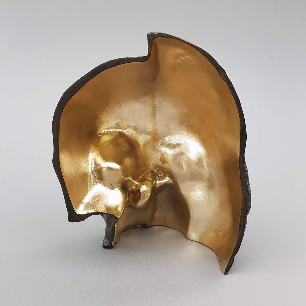 Recto/Verso ; sculpture en bronze et or ; ghyslain bertholon 2019 (en collaboration avec Cai Jin Hi)