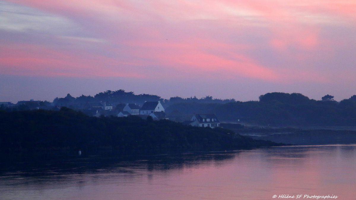 Ria d'Etel depuis le pont Lorois, au crépuscule en images