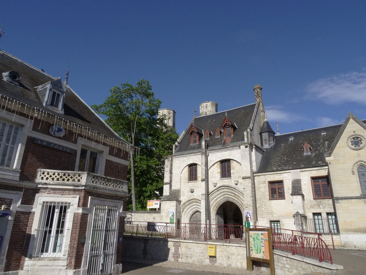 Jumièges main square. The two towers of the abbey can be seen in the background.