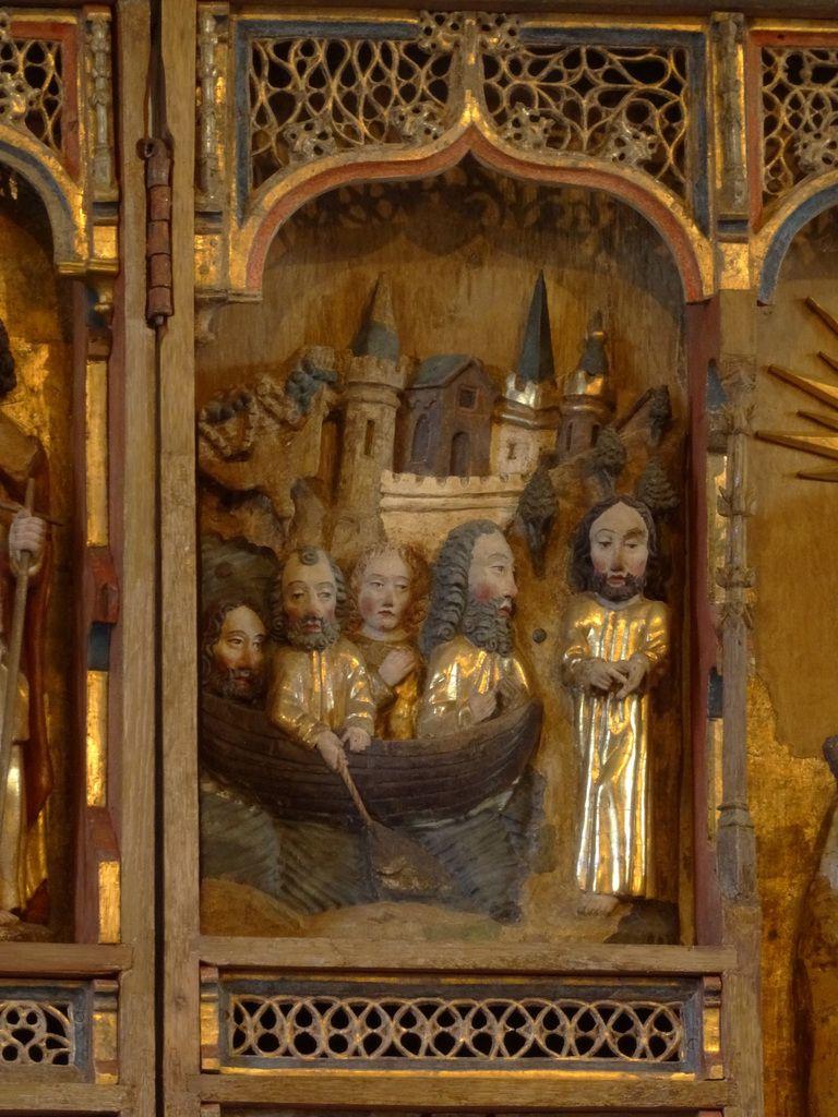 Détail du retable : Le Christ appelle St André qui pêche sur le lac de Tibériade.