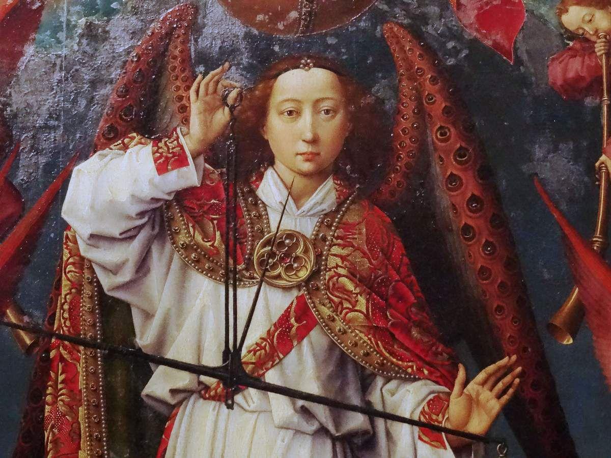 Saint Michel rendant son jugement.