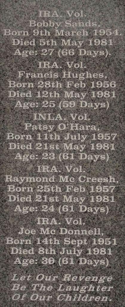 Volontaire INLA/IRA; Nom; Date de naissance; Date de décès; Âge... Durée de la grève de la faim...