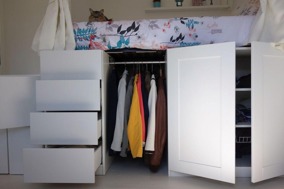 Gain De Place Meuble diy: un lit dressing gain de place avec des rangements de
