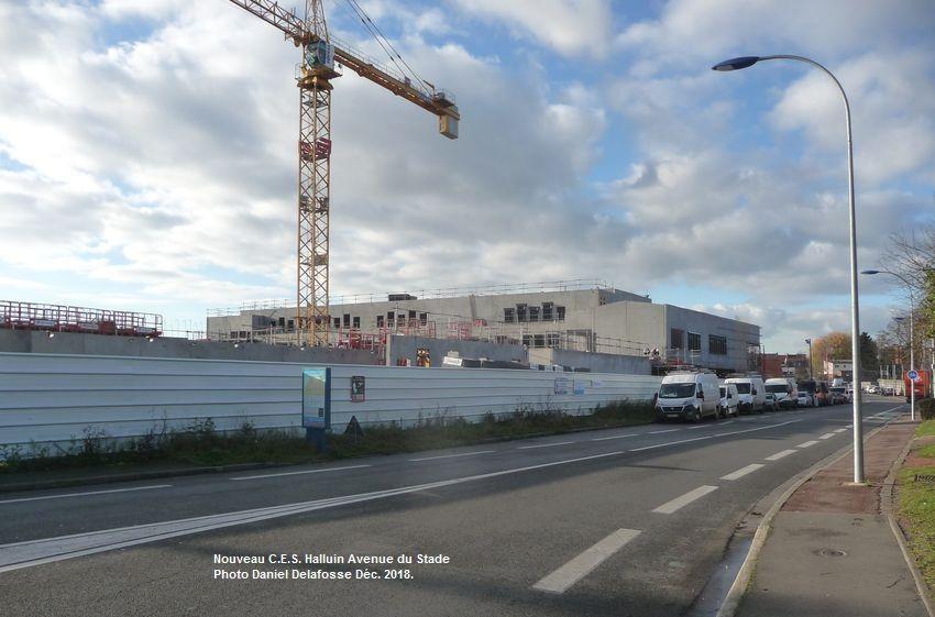 Construction du nouveau C.E.S. Avenue du Stade Halluin - Décembre 2018.