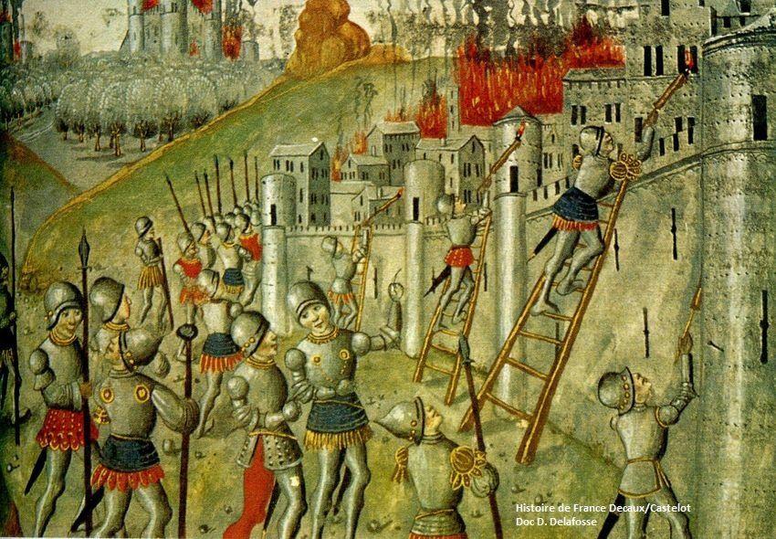Les villes de Flandre voient leur révolte cruellement étouffée par l'incendie (Histoire des Belges XVe siècle). Document Histoire de France Decaux-Castelot