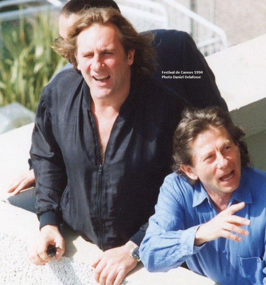 Gérard Depardieu et Roman Polanski posent pour les photographes - Festival de Cannes Mai 1994.