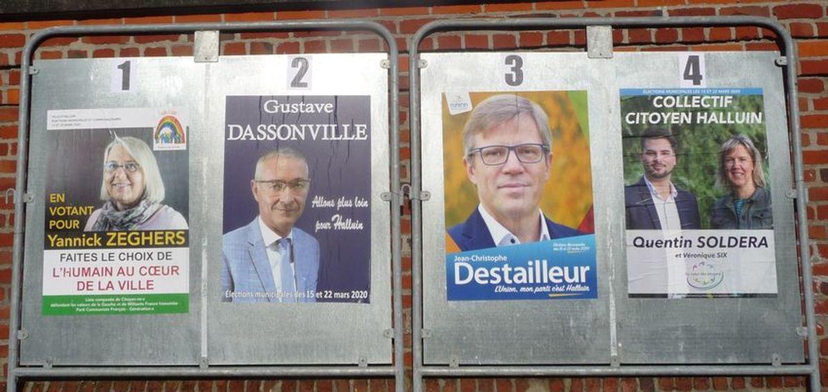 Panneaux Electoraux d'Halluin... Route de Neuville - Mars 2020.