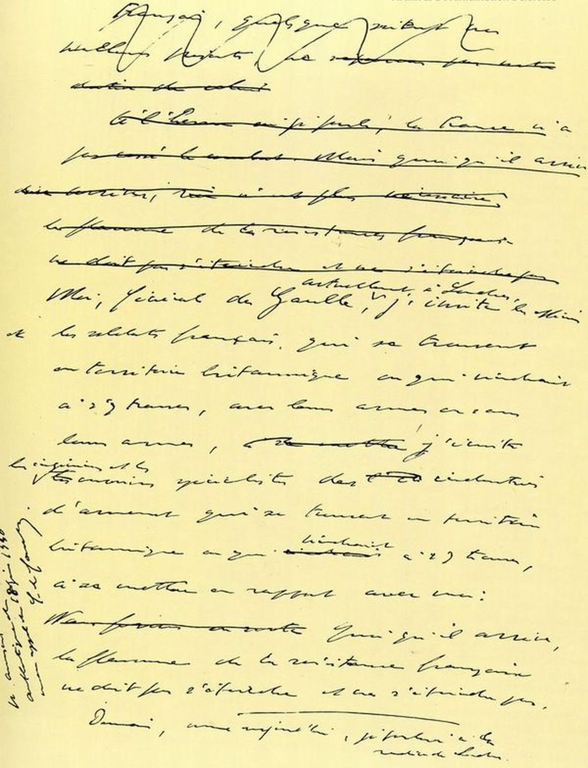 Manuscrit original de l'appel du 18 Juin 1940.