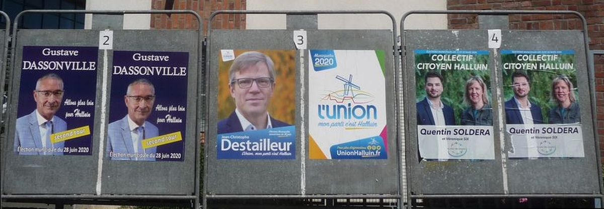 Panneaux Electoraux de la Ville d'Halluin, installés rue Marthe Nollet : Elections Municipales Juin 2020 - 2ème Tour.